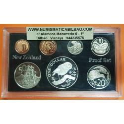 7 monedas x NUEVA ZELANDA ESTUCHE OFICIAL PROOF 1+2+5+10+20+50 Centavos + 1 DOLAR 1984 PLATA CHATHAM ISLAND PAJARO BLACK ROBIN