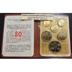 ESPAÑA CARTERA FNMT 1980 PROOF 0,50+1+5+25+50+100 PESETAS 1980 * 80 CAMPEONATO MUNDIAL DE FUTBOL 6 monedas