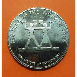 JAMAICA 10 DOLARES 1988 THE YEAR OF THE WORKER KM.138 MONEDA DE NICKEL SC @IMPERFECCIONES@