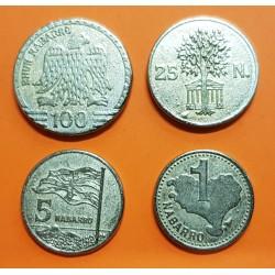 4 monedas INDEPENDENTISTAS 1 + 5 + 25 + 100 NABARROS (1995) IKURRIÑA y MAPA EUSKAL HERRIA VIZCAYA GUIPUZKOA ALAVA