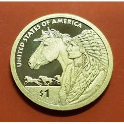 @RARA@ ESTADOS UNIDOS 1 DOLAR 2012 S INDIA SACAGAWEA JEFE INDIO y CABALLO MONEDA DE LATON PROOF USA $1 Dollar coin