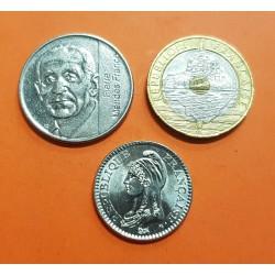 3 monedas x FRANCIA 1 FRANCO 1992 DAMA KM.1004 + 5 FRANCOS 1992 MENDES KM.1006 + 20 FRANCOS 1992 SAINT MICHELLE KM.1008 SC-