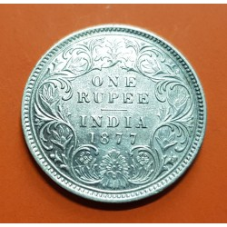 INDIA 1 RUPIA 1877 REINA VICTORIA KM.493 MONEDA DE PLATA MBC++ @RARA@ British India 1 Rupee silver coin