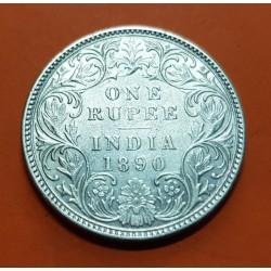 INDIA 1 RUPIA 1890 REINA VICTORIA KM.493 MONEDA DE PLATA MBC++ @RARA@ British India 1 Rupee silver coin
