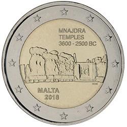 MALTA 2 EUROS 2018 TEMPLO DE MNAJDRA 3600 - 2500 BC 1ª MONEDA CONMEMORATIVA SC @ESCASA@