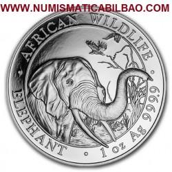 @1 ONZA 2018@ SOMALIA 100 SHILLINGS 2018 ELEFANTES MONEDA DE PLATA PROOF 1 Oz Ounce Silver Bullion coin