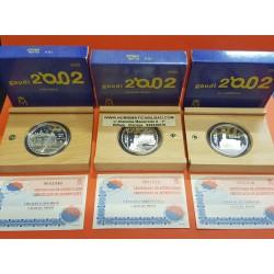 3 monedas x ESPAÑA 10 EUROS 2002 GAUDI EL CAPRICHO + PARQUE GUELL + CASA MILA PLATA PROOF ESTUCHE CERTIFICADO FNMT