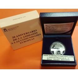 ESPAÑA 10 EUROS 2006 XX ANIVERSARIO DE LA ADHESION A LAS COMUNIDADES EUROPEAS MONEDA DE PLATA PROOF ESTUCHE y CERTIFICADO FNMT