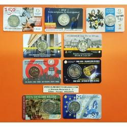 9 monedas x BELGICA 2 EUROS 2014 + 2015 + 2016 + 2x 2017 + 2x 2018 + 2x 2019 SC COINCARD