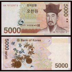 KOREA DEL SUR 5000 WON 2007 MARIPOSA y FLORES Pick 55 BILLETE SC @ESCASO@ South UNC BANKONTE