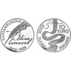 FINLANDIA 10 EUROS 2002 ELIAS LONNROT KM.108 MONEDA DE PLATA PROOF Finnland silver coin