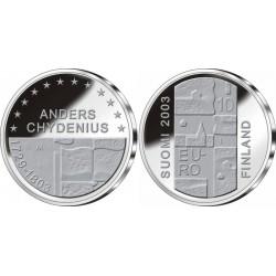 FINLANDIA 10 EUROS 2003 MUSICO ANDERS CHYDENIUS KM.110 MONEDA DE PLATA PROOF Finnland silver coin