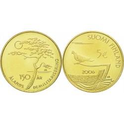 FINLANDIA 5 EUROS 2006 REGION DE ALAND 150 ANIVERSARIO KM.123 MONEDA DE LATON SC CONMEMORATIVA Finnland brass coin