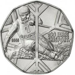 AUSTRIA 5 EUROS 2005 ESQUIADOR SKI ALPINO MONEDA DE PLATA SIN CIRCULAR Österreich silver euro coin