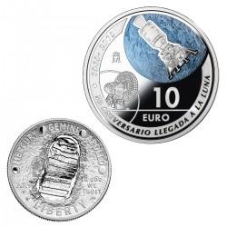 2 monedas x ESTADOS UNIDOS 1/2 DOLAR 2019 NICKEL @FORMA CONCAVA@ + ESPAÑA 10 EUROS 2019 PLATA NAVE APOLO ESTUCHE FNMT