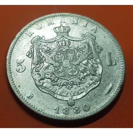 RUMANIA 5 LEI 1880 Bucarest REY CAROL I DOMNUL ROMANIEIHAI KM.12 MONEDA DE PLATA MBC+ @RARA@ Romania silver coin