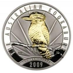 @BAÑO DE ORO@ AUSTRALIA 1 DOLAR 2009 KOOKABURRA MONEDA DE PLATA PURA SC $1 Dollar ONZA OZ OUNCE @GILDED@