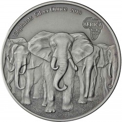 @ANTIQUE FINISH@ GHANA 5 CEDIS 2013 ELEFANTES MONEDA DE PLATA PURA ACABADO ANTIGUO SC 1 ONZA Africa OZ OUNCE CAPSULA Elephants