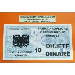 KOSOVO 10 DINARE 1999 BANKA PROVIZIORE Prishtina TEXTO EN TINTA sobre billete de MACEDONIA Pick 1 SC @RARO@ UNC BANKNOTE