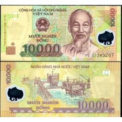 VIETNAM 10000 DONG 2007 ESTACIONES PETROLIFERAS HO CHI MIN Pick 119 BILLETE DE PLASTICO / POLIMERO SC Polymer UNC BANKNOTE