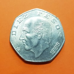 .MEXICO 10 PESOS 1976/1981 ERROR ACUÑACION OFF CENTER COIN SC