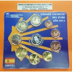 9 monedas x ESPAÑA CARTERA FNMT EURO 2014 COMUNIDAD DE GALICIA MEDALLA PLATA 1+2+5+10+20+50 Cts. 1€ 2€ + 2 EUROS GAUDI