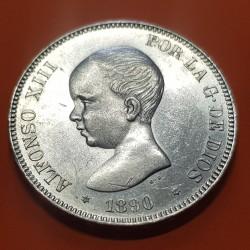 @PRECIOSA@ ESPAÑA 5 PESETAS 1890 * 18 90 PGM REY ALFONSO XIII MONEDA DE PLATA (DURO) KM.689 Spain silver coin 2