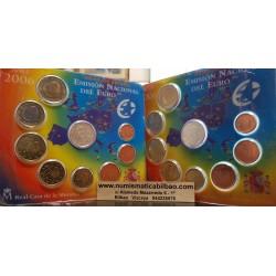 ESPAÑA CARTERA FNMT EURO 2006 BU SET KMS EURO 1+2+5+10+20+50 Centimos 1+2 EUROS 2006 Medallas de plata COLON y ADHESION
