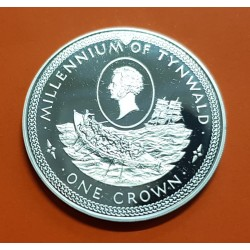 ISLA DE MAN 1 CORONA 1979 BARCO MILLENIUM OF TYNWALD KM.47 MONEDA DE PLATA SC Isle Of Man 1 crown