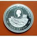 ISLA DE MAN 1 CORONA 1979 BARCO MILLENIUM OF TYNWALD KM.47 MONEDA DE PLATA SC Isle Of Man 1 crown