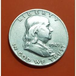 ESTADOS UNIDOS 1/2 DOLAR 1949 D BENJAMIN FRANKLIN y CAMPANA KM.163 MONEDA DE PLATA MBC USA Half silver dollar