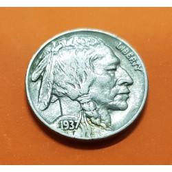 ESTADOS UNIDOS 5 CENTAVOS 1937 BUFFALO e INDIO NATIVO KM.134 MONEDA DE NICKEL MBC- USA 5 Cent coin