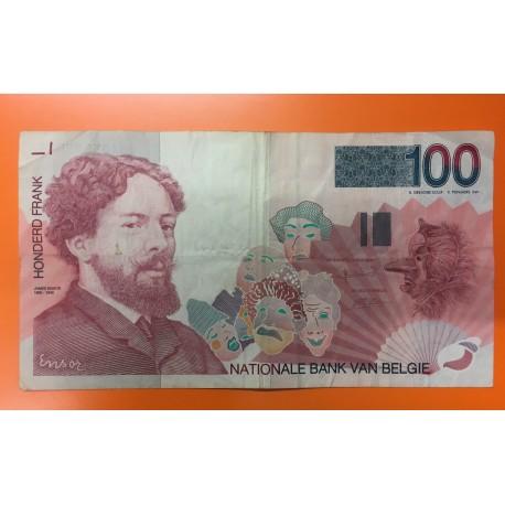 BELGICA 100 FRANCOS 1995 JAMES ENSOR Pick 147 Firma 5 BILLETE CIRCULADO Belgium PRE-EURO BANKNOTE
