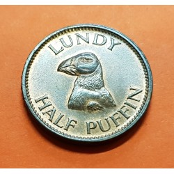 LUNDY 1/2 PUFFIN 1965 PAJARO y MARTIN COLES HARMAN MONEDA DE BRONCE @LUJO y RARA@ KM.TN1 Half Medio GRAN BRETAÑA