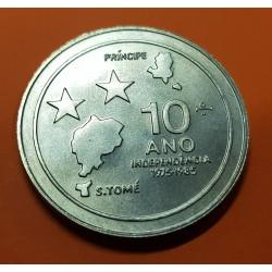 SANTO TOME y PRINCIPE 100 DOBRAS 1985 ISLAS y ESTRELLAS 10 AÑOS DE INDEPENDENCIA KM.42 MONEDA DE NICKEL SC