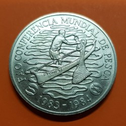 SANTO TOME y PRINCIPE 100 DOBRAS 1984 PESCADOR FAO KM.41 MONEDA DE NICKEL SC @RARA@ WORLD FISHSERIES CONFERENCE