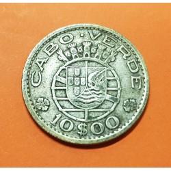 CABO VERDE 10 ESCUDOS 1953 ESCUDO KM.10 MONEDA DE PLATA MBC- @RARA@ República Portuguesa CAPE VERDE
