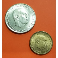 2 monedas x ESPAÑA 2,50 PESETAS 1953 * 19 56 KM.785 LATON SC Imperfecciones + 100 PESETAS 1966 * 19/68 PLATA SC FRANCISCO FRANCO