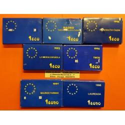 7 monedas x 1 ECU 1989+1992+1994+1995+1996 + 1 EURO 1997+1998 PLATA ESTUCHE y CERTIFICADO FNMT España