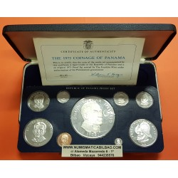 1975 PANAMA ESTUCHE OFICIAL 9 coins Silver Proof Franklin Mint Set incluye 1 BALBOA + 5 BALBOAS + 20 BALBOAS PLATA 5,67 Onzas