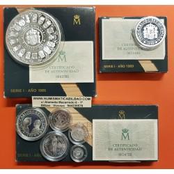 7 monedas x ESPAÑA V CENTENARIO 1ª SERIE PLATA 100+200+500+1000+2000+5000+10000 PESETAS 1989 PROOF