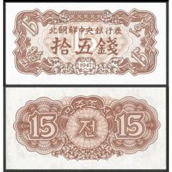 KOREA DEL NORTE 15 CHON 1947 Régimen Comunista de KIM II SUNG Pick 5B BILLETE SC North Korea UNC BANKNOTE