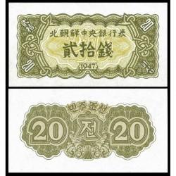 KOREA DEL NORTE 20 CHON 1947 Régimen Comunista de KIM II SUNG Pick 6B BILLETE SC North Korea UNC BANKNOTE