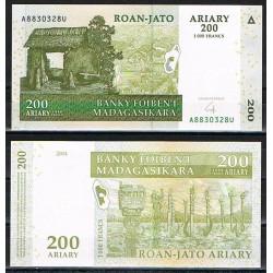 MADAGASCAR 200 ARIARY 2004 CABAÑA y TOTEMS Firma del 2016 Pick 87 BILLETE SC Africa 1000 Francos UNC BANKNOTE