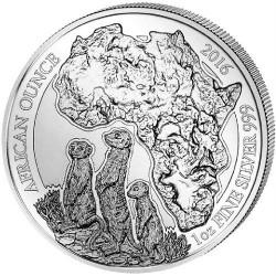 RUANDA 50 FRANCOS 2016 African Ounce SURICATO MONEDA DE PLATA SC 1 ONZA OZ SILVER Rwanda 50 Francs 2016 Amafaranga SURICATE