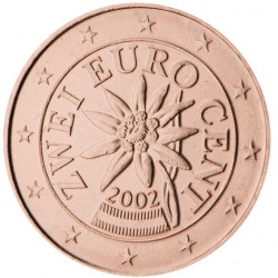AUSTRIA 2 CENTIMOS 2009 FLOR MONEDA DE COBRE SC Osterreich Euro coin Cts IMPERFECCIONES