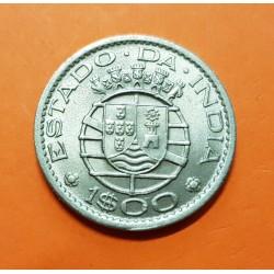 INDIA PORTUGUESA 1 ESCUDO 1959 ESCUDO KM.33 MONEDA DE NICKEL SC Estado Da India República PORTUGAL COLONY GOA