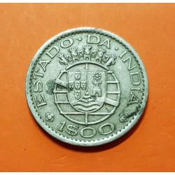 INDIA PORTUGUESA 1 ESCUDO 1958 ESCUDO KM.33 MONEDA DE NICKEL MBC @MANCHITA@ Estado Da India República PORTUGAL COLONY GOA