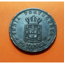 INDIA PORTUGUESA 1/2 TANGA 1901 MCMI REY CARLOS I KM.16 MONEDA DE COBRE MBC @ESCASA@ Portugal GOA