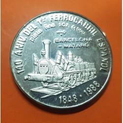 @RARA@ 10 PESOS 1988 FERROCARRIL TREN BARCELONA MATARO KM.206 MONEDA DE PLATA PROOF Caribbe silver 1 ONZA